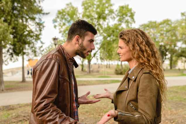 man and woman wearing brown leather jackets